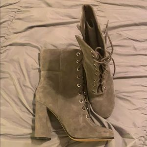 Grey Vince Camuto laced boots! NEVER WORN!